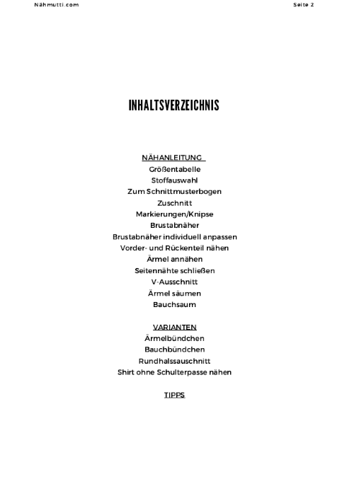 Naehanleitung Inhaltsverzeichnis