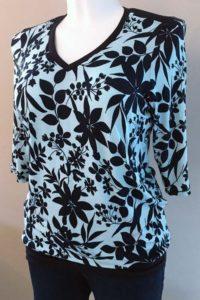Schnittmuster Shirt Marlena blaue Blätter 2