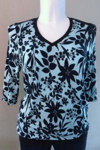 Schnittmuster Shirt Marlena blaue Blätter 3