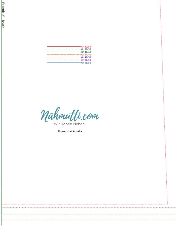 Papierschnittmuster Blusenshirt farbig 1