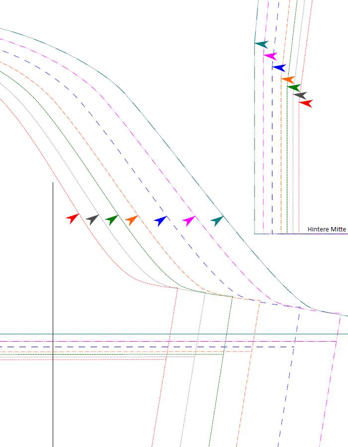 Papierschnittmuster Blusenshirt farbig 2